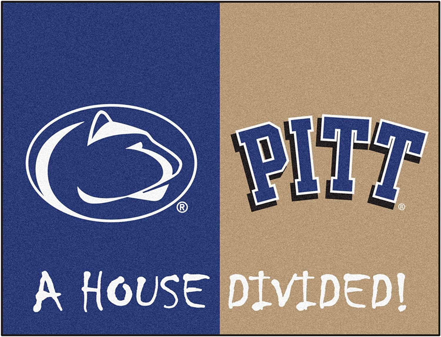 FANMATS 18680 NCAA House Divided Penn State//Pittsburgh House Divided Mat