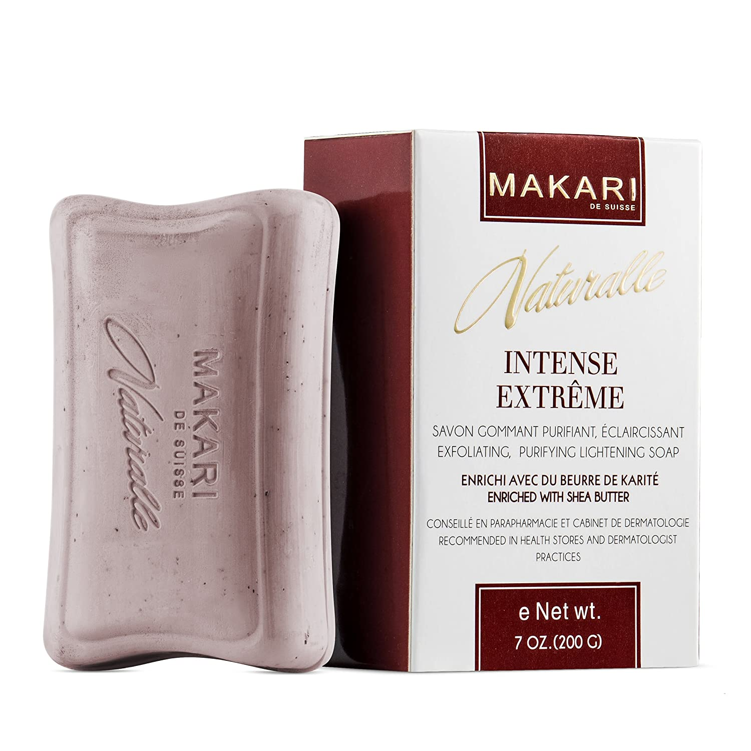 Makari Naturalle Intense Extreme Skin Lightening Soap 7oz. – Exfoliating, Purifying & Whitening Bar Soap With Shea Butter & SPF 15– Anti-Aging Cleansing Treatment for Dark Spots, Acne Scars & Wrinkles