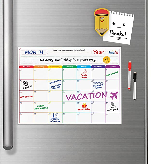 Amazon.com : Monthly Calendar Planner Magnetic Board - Dry ...