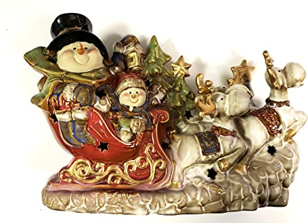 Potter de jardín iluminado de cerámica muñeco de nieve trineo con renos: Amazon.es: Hogar