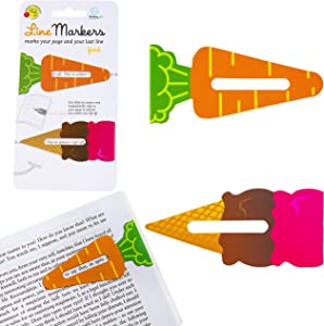 Gifts for Readers & Writers Line Markers Novelty Fun Magnetic Bookmark Page Holder Book Lover Reading Gift - Food