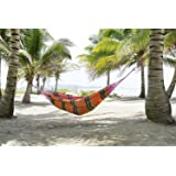 FMS Brazilian Mayan Tropical Hammock - Deluxe Indoor / Outdoor Extra Large Multicolor Handmade Hammock for 1 or 2 Person - 100% Cotton - Portable, Soft and Comfortable
