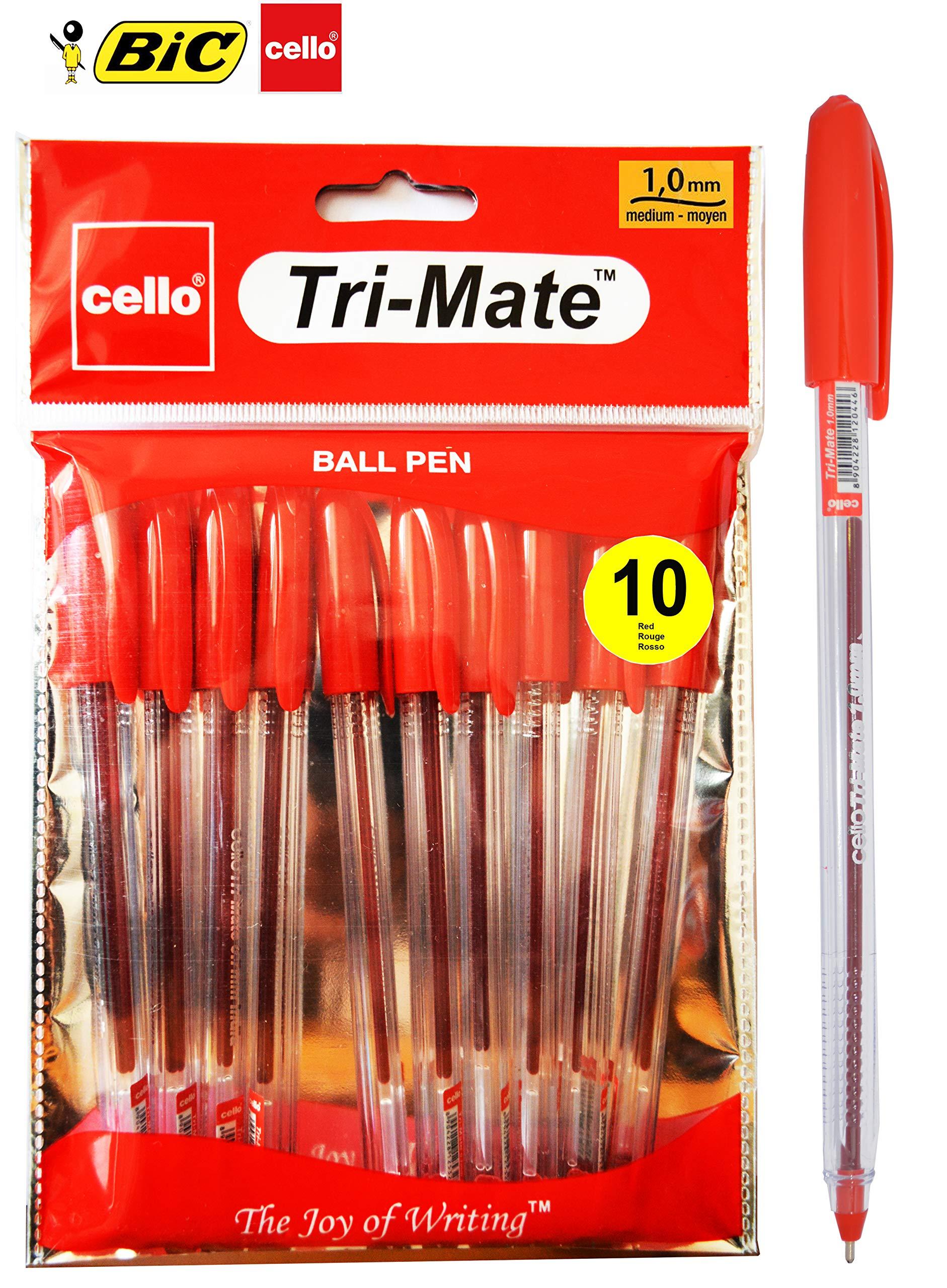 BIC Cello Tri-Mate Cristal Ballpoint Pens Medium Point Pack of 10 Black