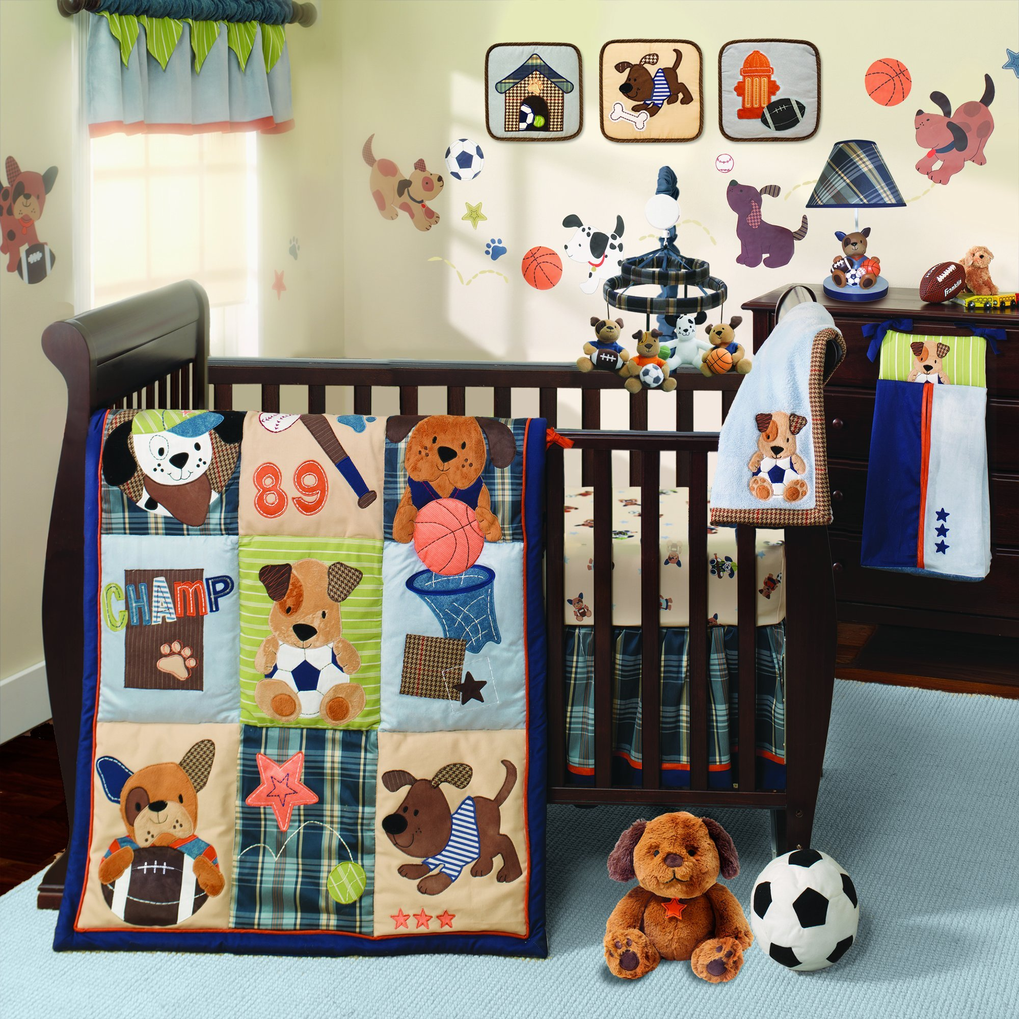 Lambs & Ivy Bow Wow Buddies 12-Piece Nursery to Go Crib Bedding Set