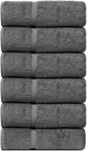 BC BARE COTTON Luxury Hotel & Spa Towel Turkish Cotton Hand Towels - Gray - Dobby Border - Set of 6