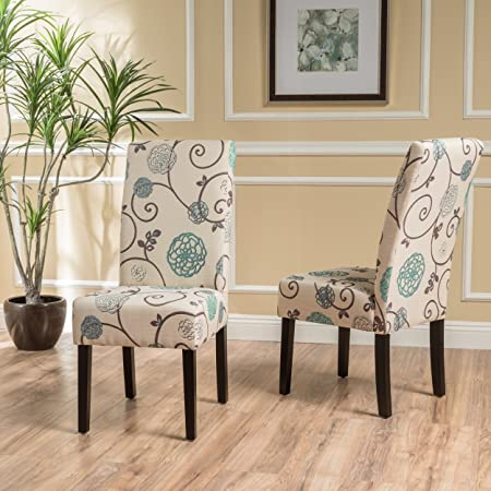 Percival Blue and White Floral Fabric Dining Chairs Set of 2