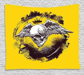 Tattoo Decor Tapisserie Par Ambesonne L Ange De La Mort Couronne