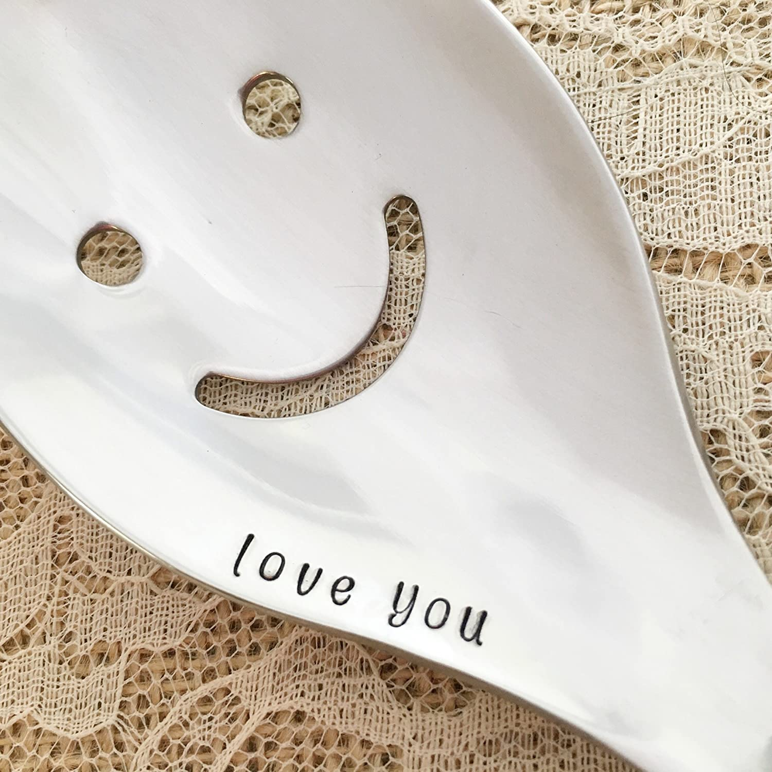 Love you, smile serving spoon gift hand stamped
