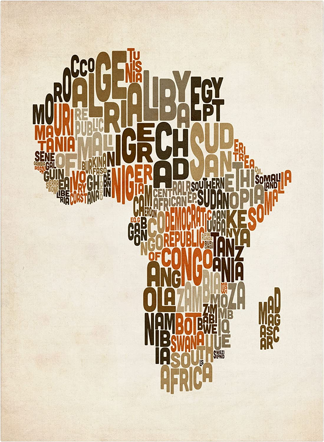 Africa Map Art Amazon.com: Africa Text Map by Michael Tompsett work, 16 by 24