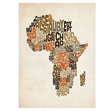 Amazon trademark fine art africa text map by michael tompsett trademark fine art africa text map by michael tompsett canvas artwork 30 by 47 gumiabroncs Gallery