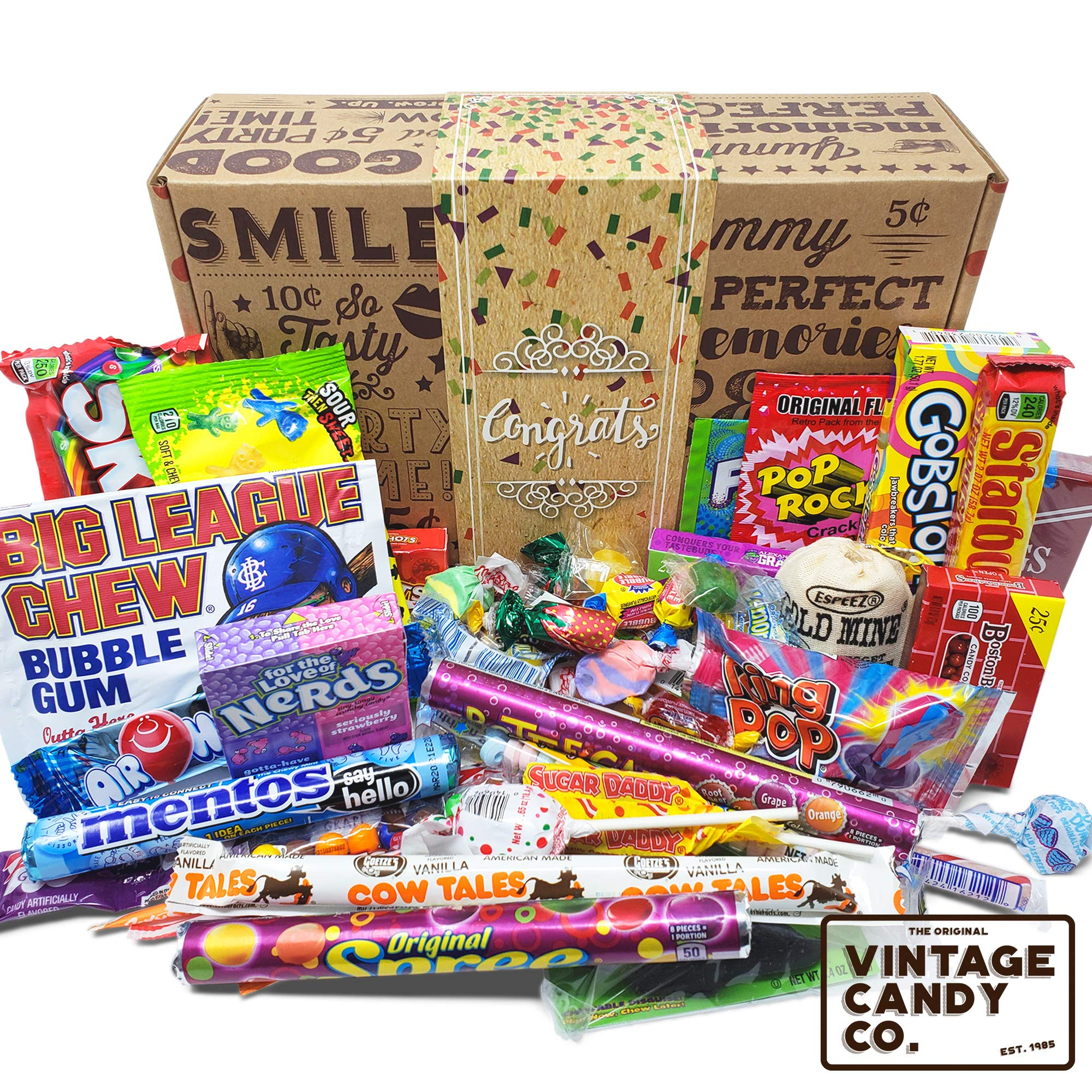 VINTAGE CANDY CONGRATULATIONS CARE PACKAGE - Nostalgia Candies Basket CONGRATS GIFT BOX - Fun Pride Gift For Boy or Girl - PERFECT For Adults, College Students, Friend, Teens, Man or Woman