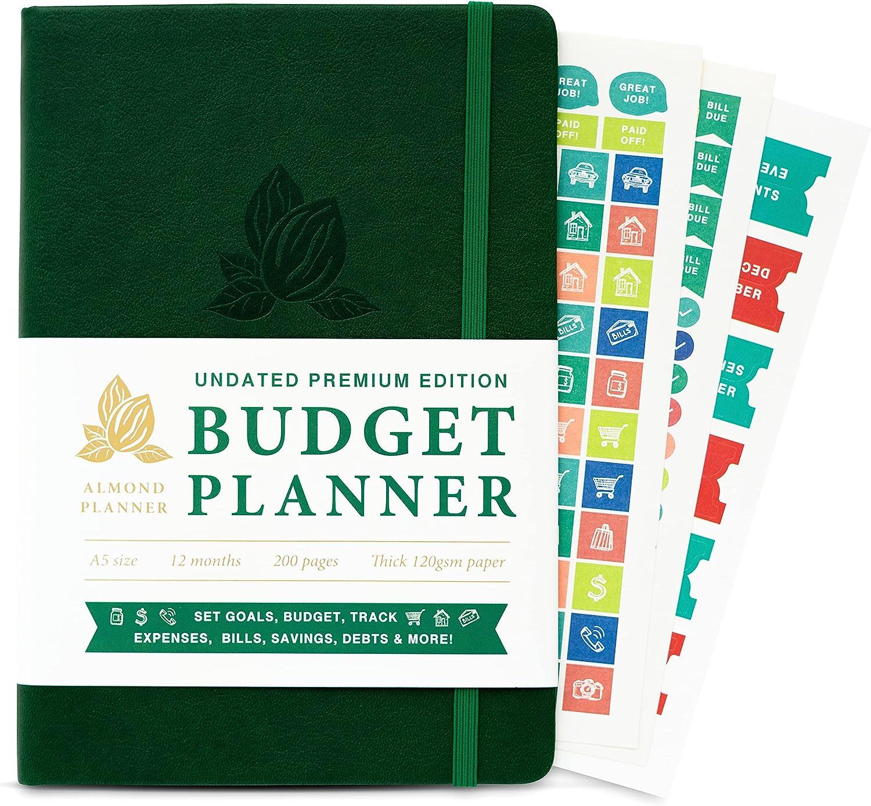 ALMOND PLANNER Monthly Budget Planner 2021 - Undated Finance Planner Bill Organizer, Expense and Bill Tracker Notebook For Saving Money, Financial Planner Organizer Budget Book - A5 Green