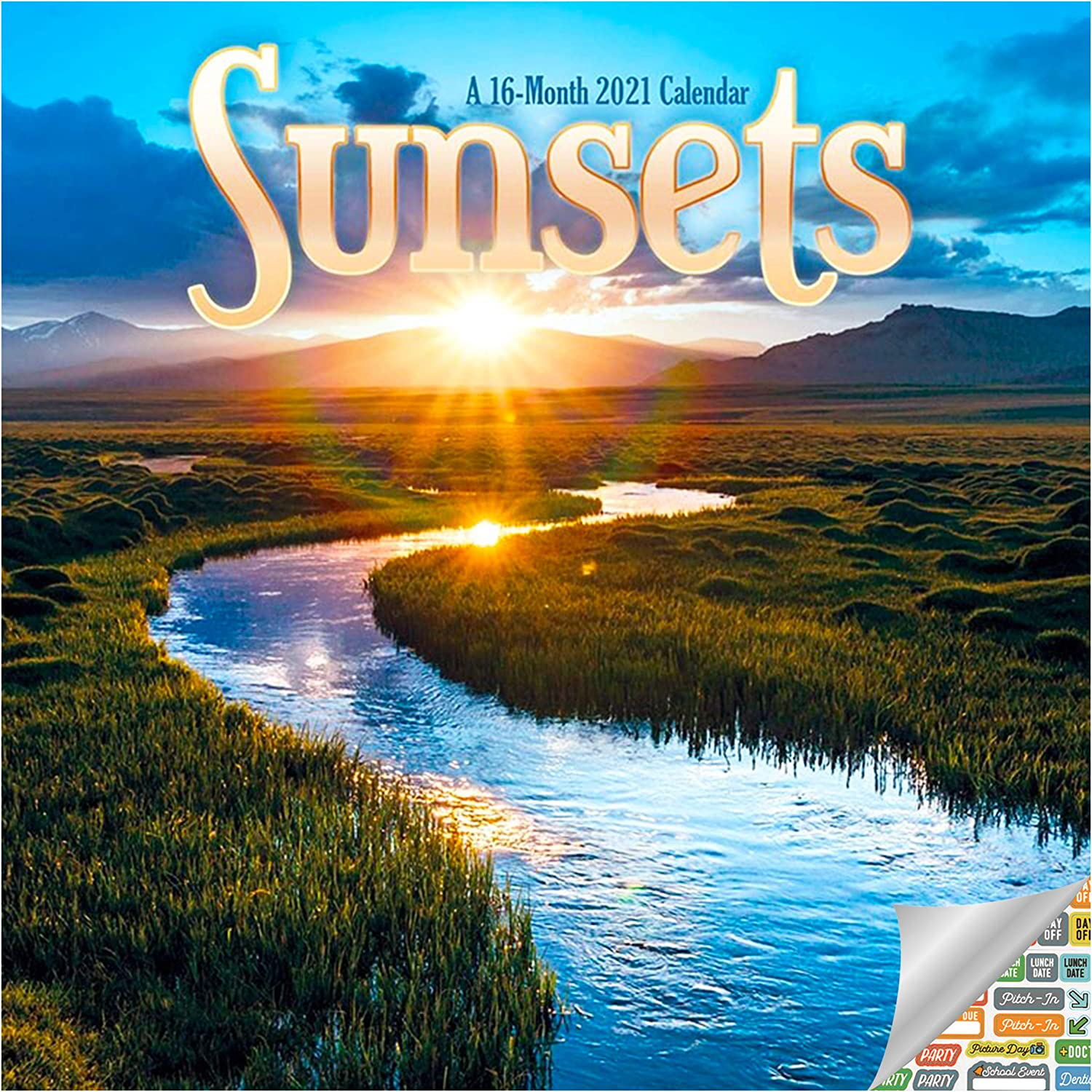 Sunsets Calendar 2021 Bundle - Deluxe 2021 Sunsets Mini Calendar with Over 100 Calendar Stickers (Nature Gifts, Office Supplies)