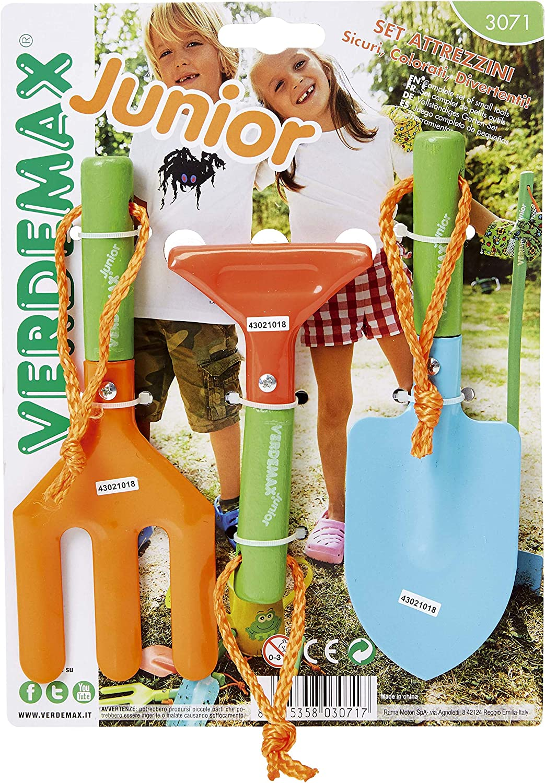 Verdemax 3071jardín, Mango Corto Juego de Herramientas para niños (3Piezas)