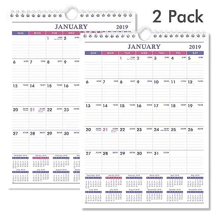 Amazon Com 2019 Calendar 2 Pack Desk Wall Calendar 2019 For