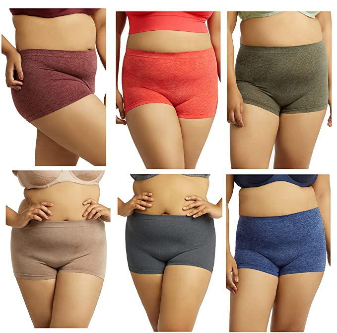 a25eea54d1d Gilbins Plus Size Women Seamless Stretch Boy Shorts Panties Various Styles  Fits Most 1X-2X