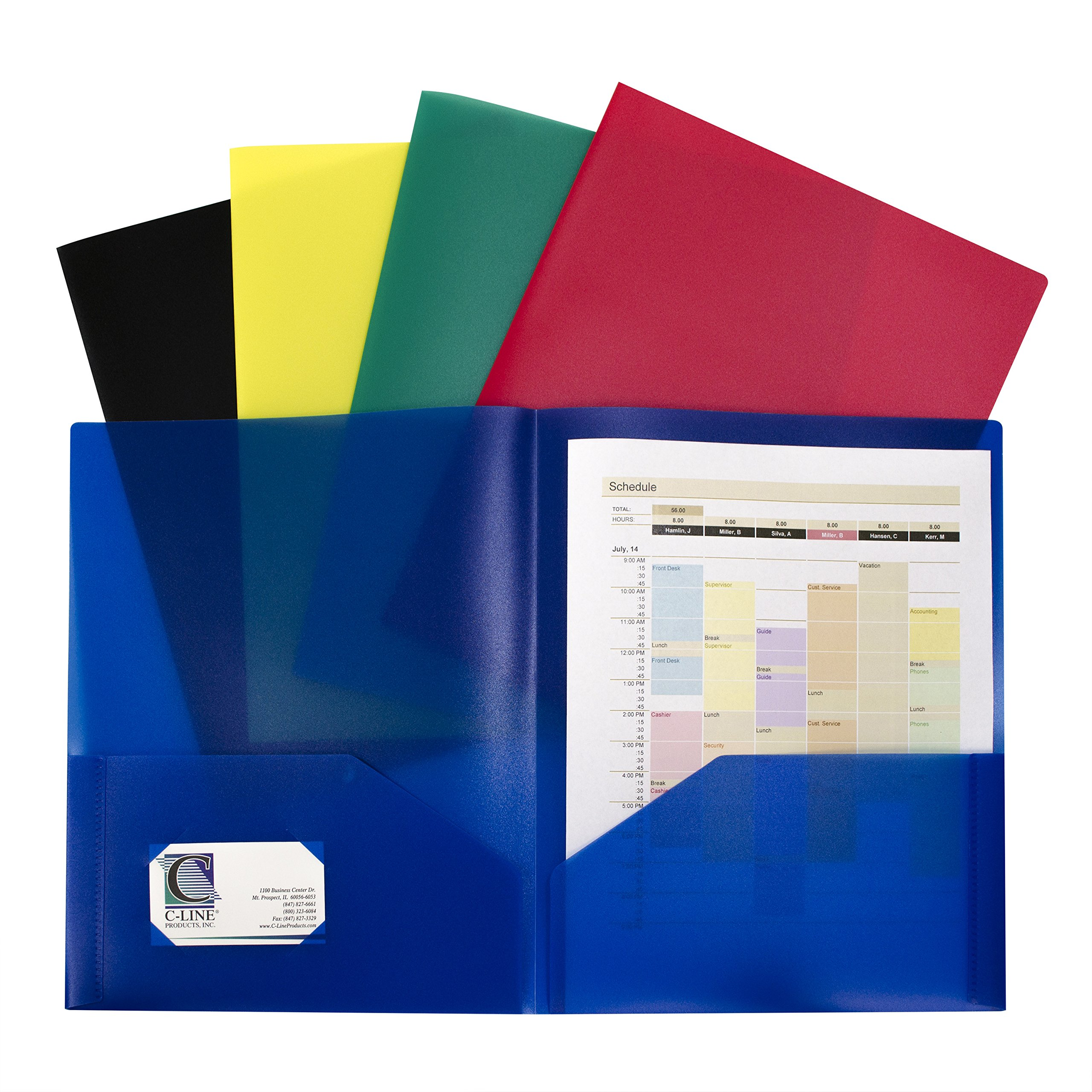 C-Line Two-Pocket Heavyweight Poly Portfolio, For Letter Size Papers, Includes Business Card Slot, Assorted Colors, 10 pack (32950)