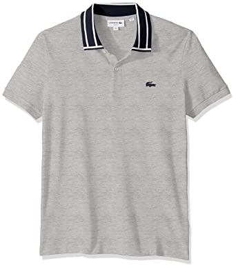 51952a028ab Lacoste Men's S/S Stretch Pique Slim Fit Striped Collar Polo at Amazon Men's  Clothing store: