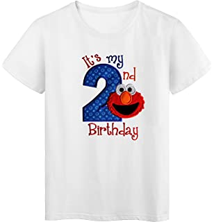 Embroidered ELMO Its My Second Birthday Turning 2 Childrens T Shirt