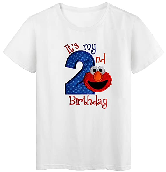 Funny Girl Designs Embroidered ELMO Its My Second Birthday Turning 2 Childrens T
