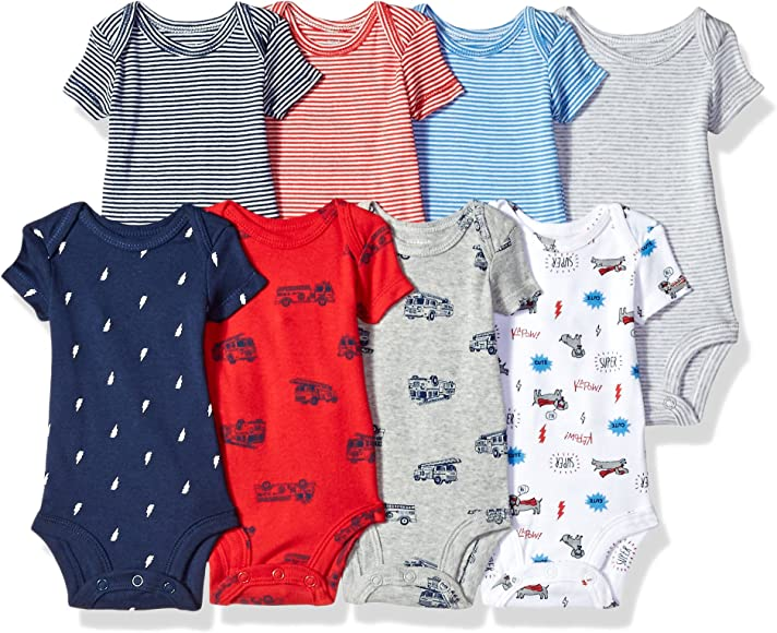 e918cdae2 Carter's Baby Boys' 8-Pack Short-Sleeve Bodysuits, Transportation/Dog,