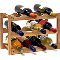 Relaxdays Free Rack: 28 x 42.5 x 21 cm Wooden Stand with Three Shelves for 12, Small Wine Bottle Holder Made Out of Oiled Walnut for Horizontal Storage, Wood, Natural Brown, 42 x 21 x 28 cm