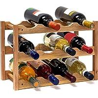 Relaxdays 10019279 Cantinetta Vino di Noce con 3 Ripiani, Marrone, 42x21x28 cm
