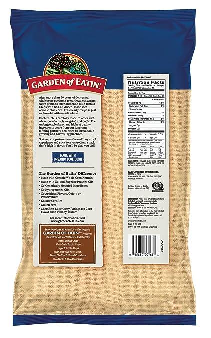 Amazon.com: Garden Of Eatinu0027 Blue, No Salt Added, Corn Tortilla Chips, 16  Ounce (Pack Of 12)