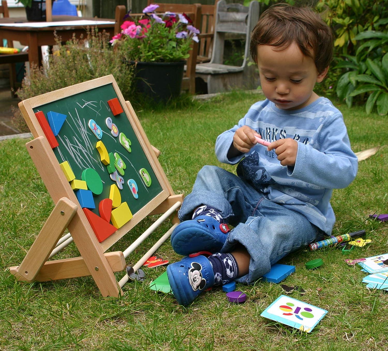 Lavagna Magnetica per Bambini con Lettere Numeri magnetici e Rotolo di Carta da dipingere Toys of Wood Oxford Cavalletto per Bambini Forme magnetiche