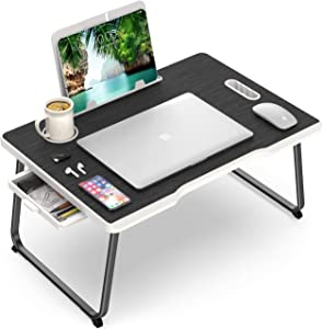 Laptop Tray for Bed and Sofa - Bed Laptop Table - Portable Lap Desk for Laptop with Side Drawer & Tablet Stand - Bed Desk with Cup Holder
