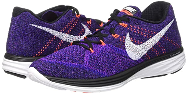 44825393bd1a Nike Mens Flyknit Lunar3 Running Shoe(Black White-Concord-Vivid Purple