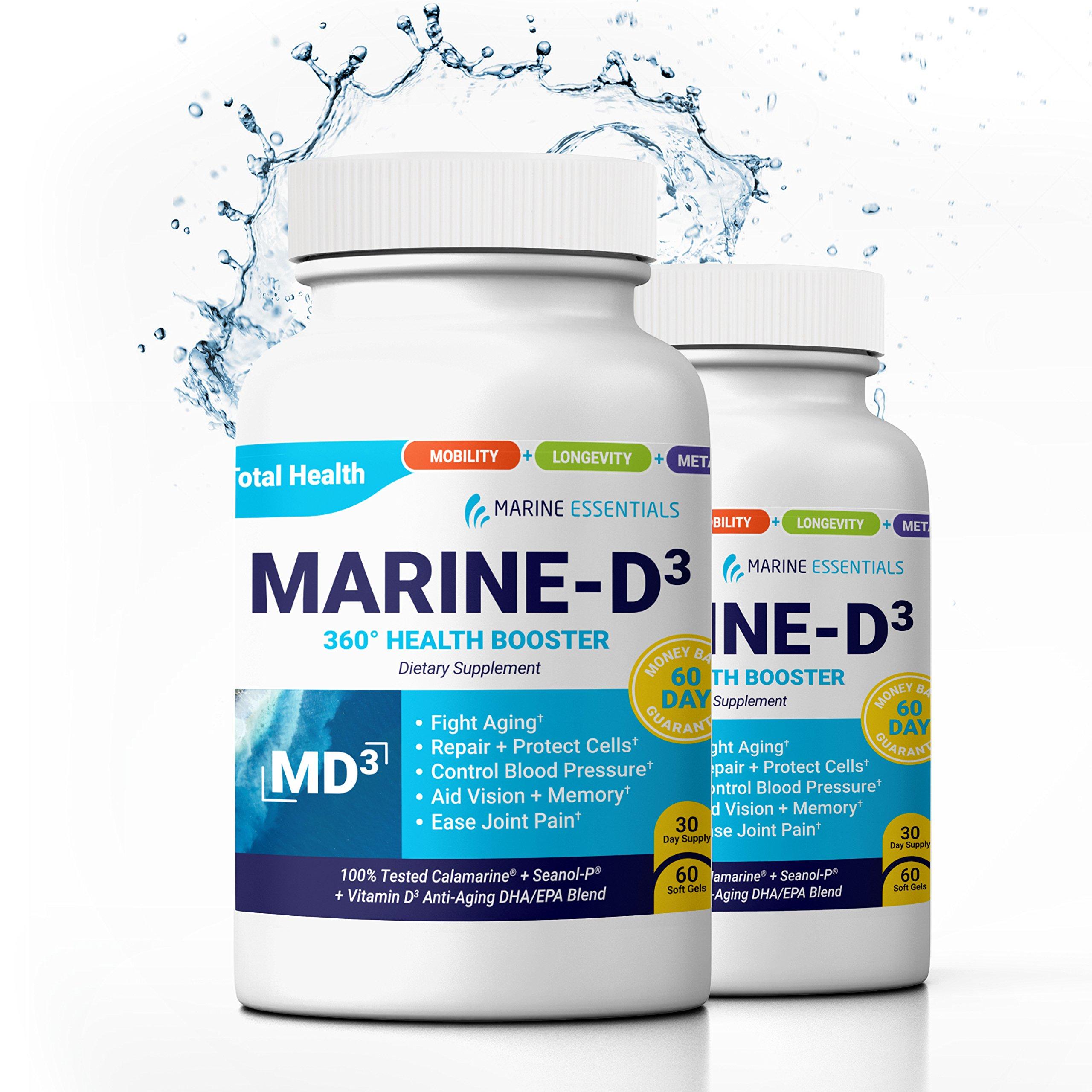 Marine Essentials Vitamin D3 Omega 3 Fish Oil - ''Marine-D3'' 340 mg Vitamin D3 DHA Anti Aging Omega 3 Fish Oil Dietary Supplement (120 Softgels)