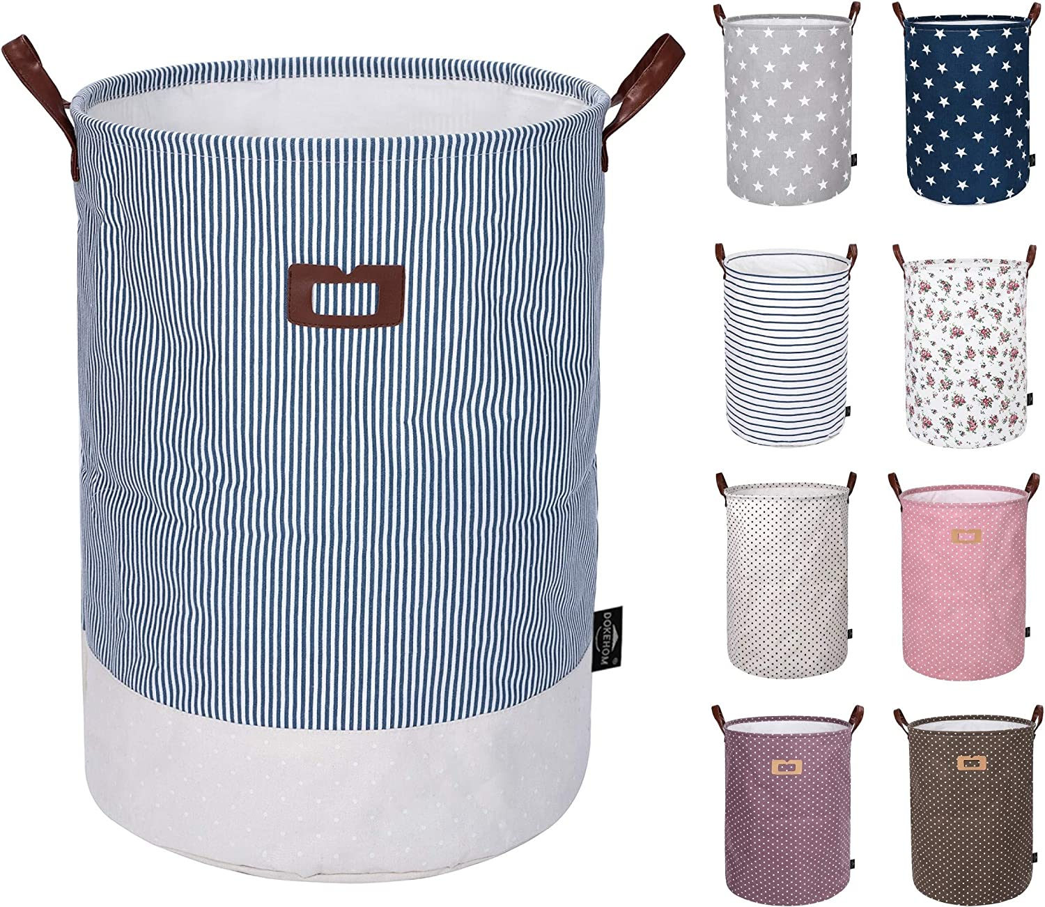 DOKEHOM 22-Inches Thickened X-Large Laundry Basket (9 Colors)- with Durable Leather Handle, Drawstring Waterproof Round Cotton Linen Collapsible Storage Basket (Navy Blue, XL)