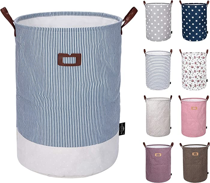 DOKEHOM 19-Inches Thickened Large Laundry Basket -(9 Colors)- with Durable Leather Handle, Drawstring Waterproof Round Cotton Linen Collapsible Storage Basket (Navy Blue, L)