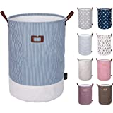 DOKEHOM 22-Inches Thickened X-Large Laundry Basket (9 Colors)- with Durable Leather Handle, Drawstring Waterproof Round…