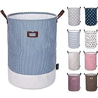 DOKEHOM DKA0811G Round Drawstring Cotton Linen Collapsible Storage Basket