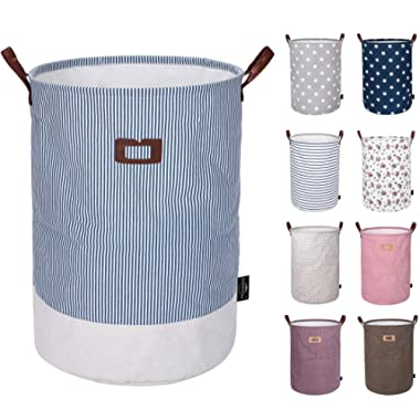 DOKEHOM DKA0822BBL 19  Thickened Large Laundry Basket -(9 Colors, 19  and 22 )- with Durable Leather Handle, Drawstring Waterproof Round Cotton Linen Collapsible Storage Basket (Navy Blue, L)