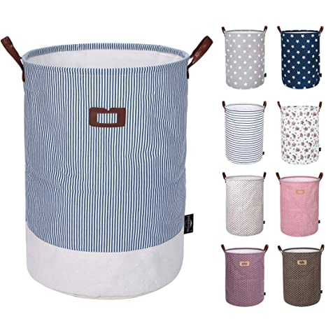 a267735b463b DOKEHOM 19-Inches Thickened Large Laundry Basket -(9 Colors)- with Durable  Leather Handle, Drawstring Waterproof Round Cotton Linen Collapsible ...