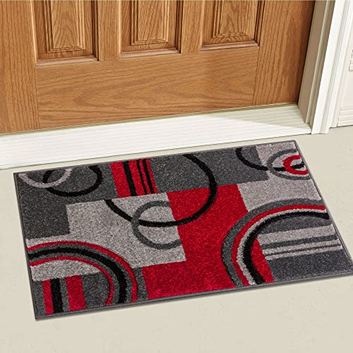 Well Woven Grey Red Galaxy Waves Modern Abstract Arcs and Shapes 2 x 3 Mat Accent Area Rug
