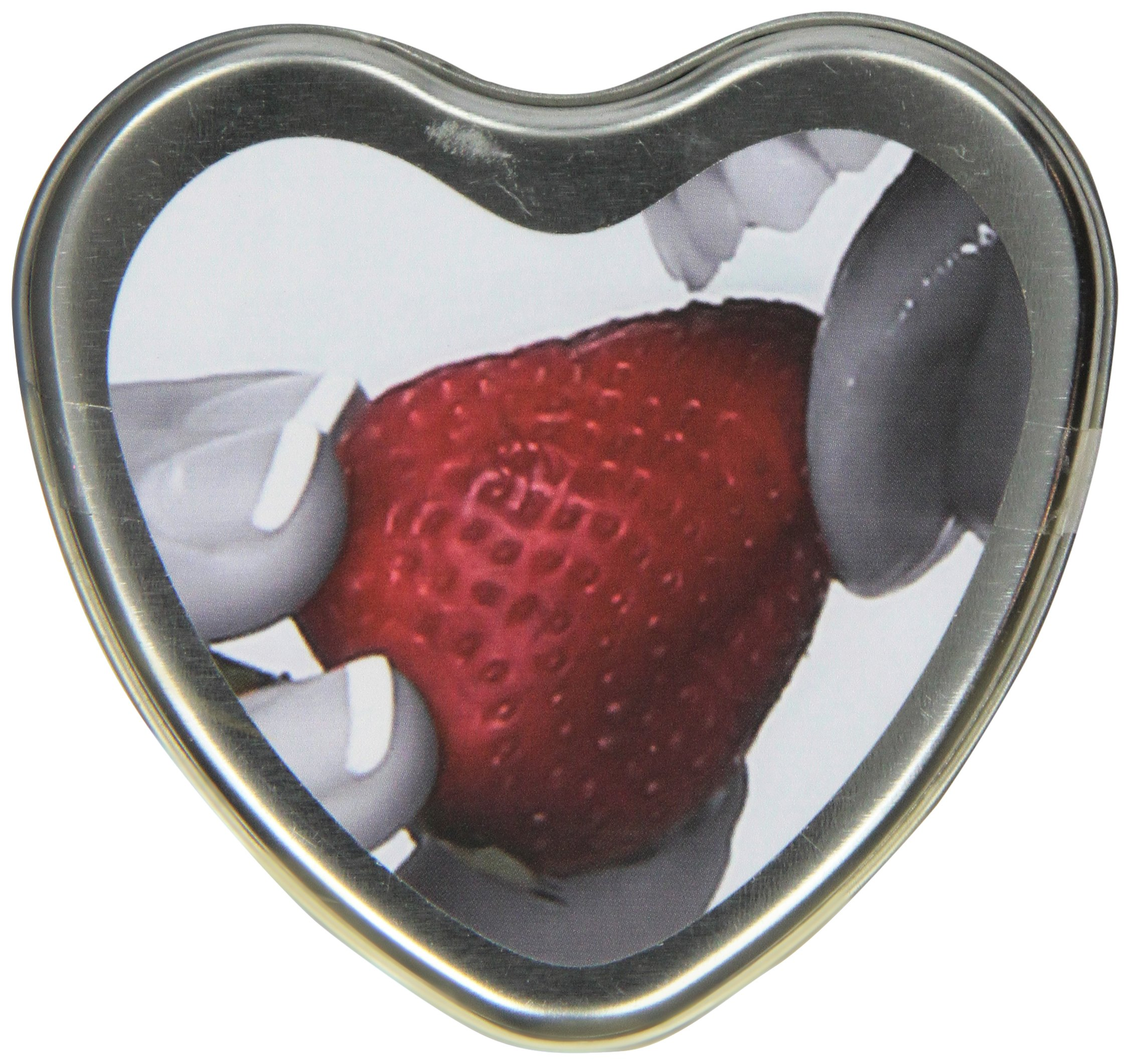 Earthly Body Edible Heart Candle, Strawberry, 4 ounces Tin
