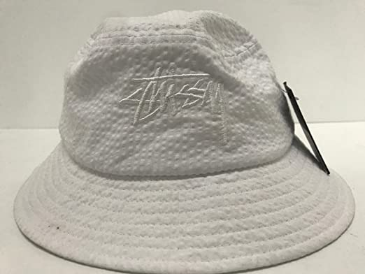 2b76c009f38 Stussy Stock Seersucker Bucket Hat - White-S-M  Amazon.co.uk  Clothing