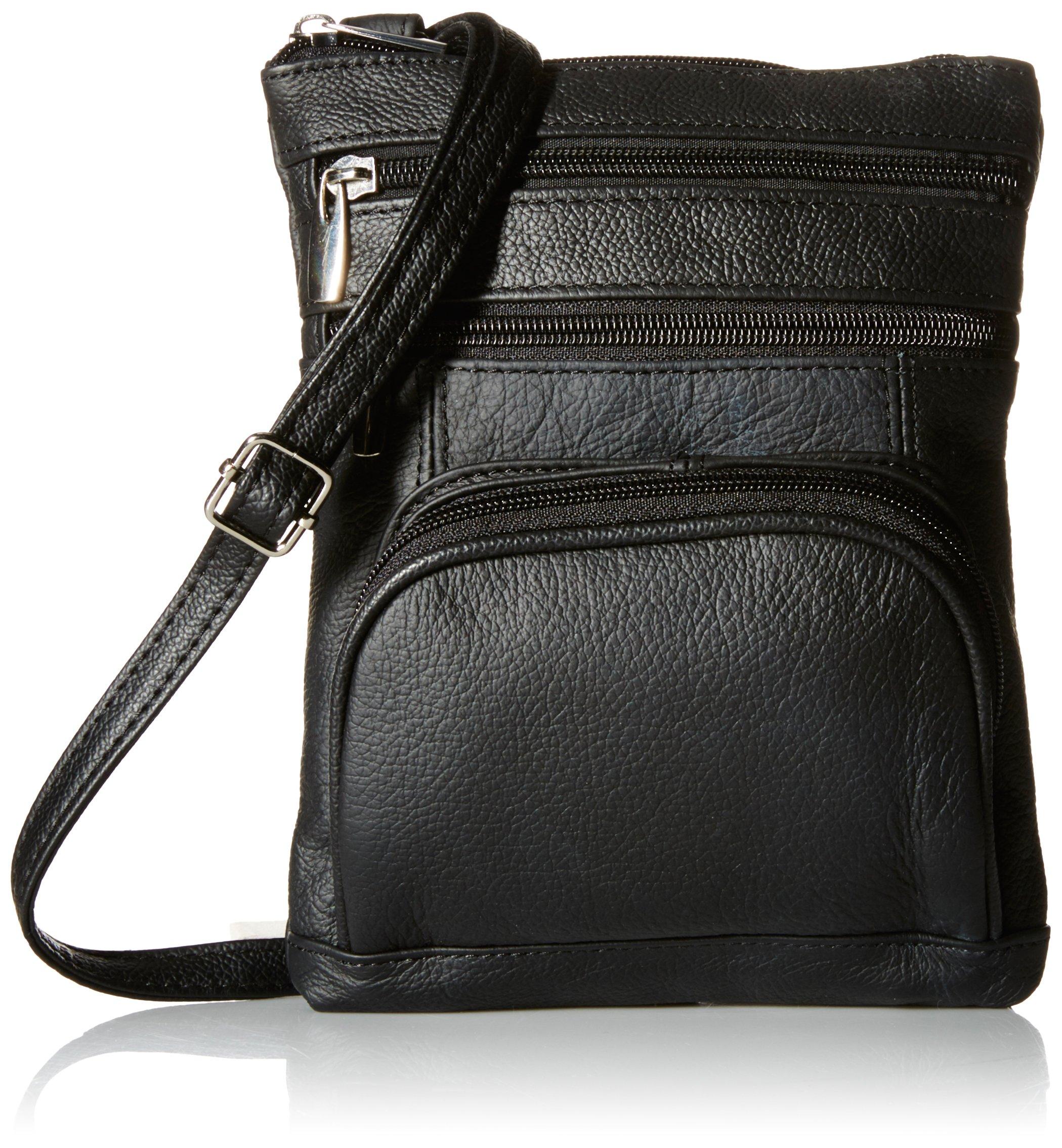 Roma Leathers Genuine Leather Multi Pocket Crossbody Bag (Black)
