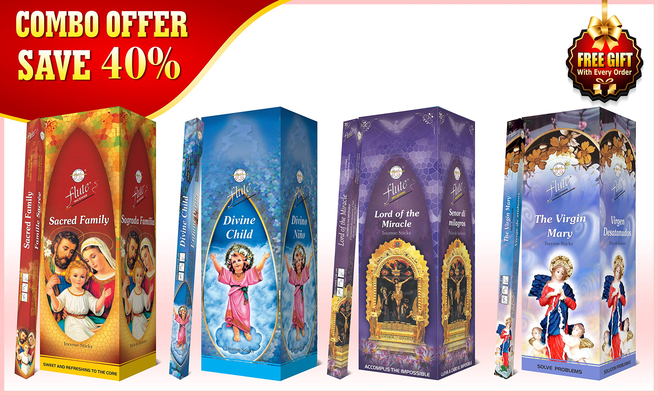 Combo Incense Sticks Save 40% - Sacred Family, Divine Child, Lord of the Miracle, The Virgin Mary - 800 Flute Square Pack Sticks