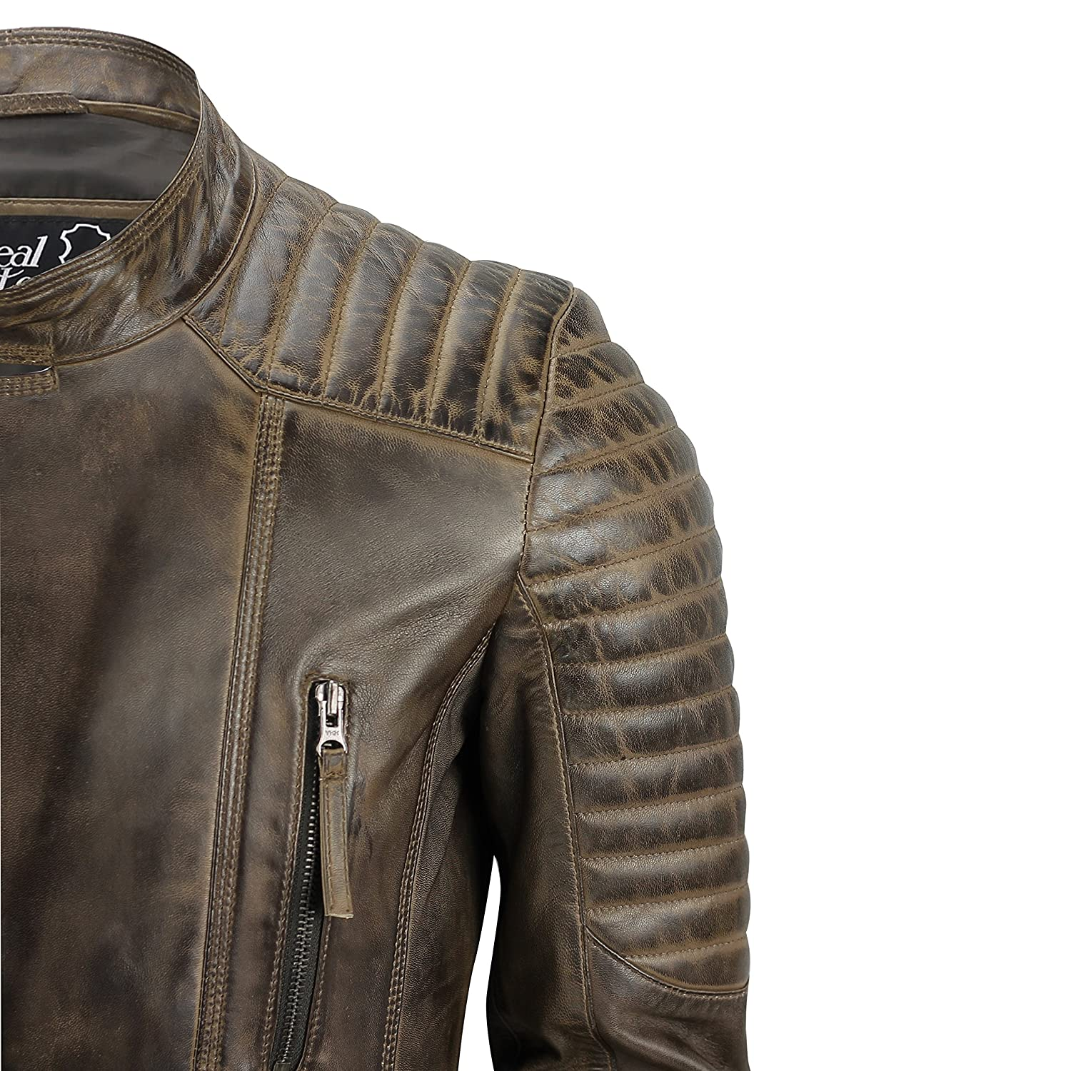 XPOSED Mens Real Leather Biker Jacket Antique Washed Brown Smart Casual Vintage Slim Fit Zip Coat at Amazon Mens Clothing store: