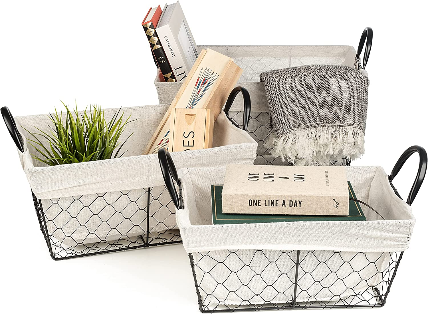 Sorbus Wire Basket Set with Removable Fabric Liner, Rectangular Open Home Storage Bins & Decorative Baskets for Organizing Shelves, Living Room, Bathroom, Kitchen, etc (Rectangle - White)