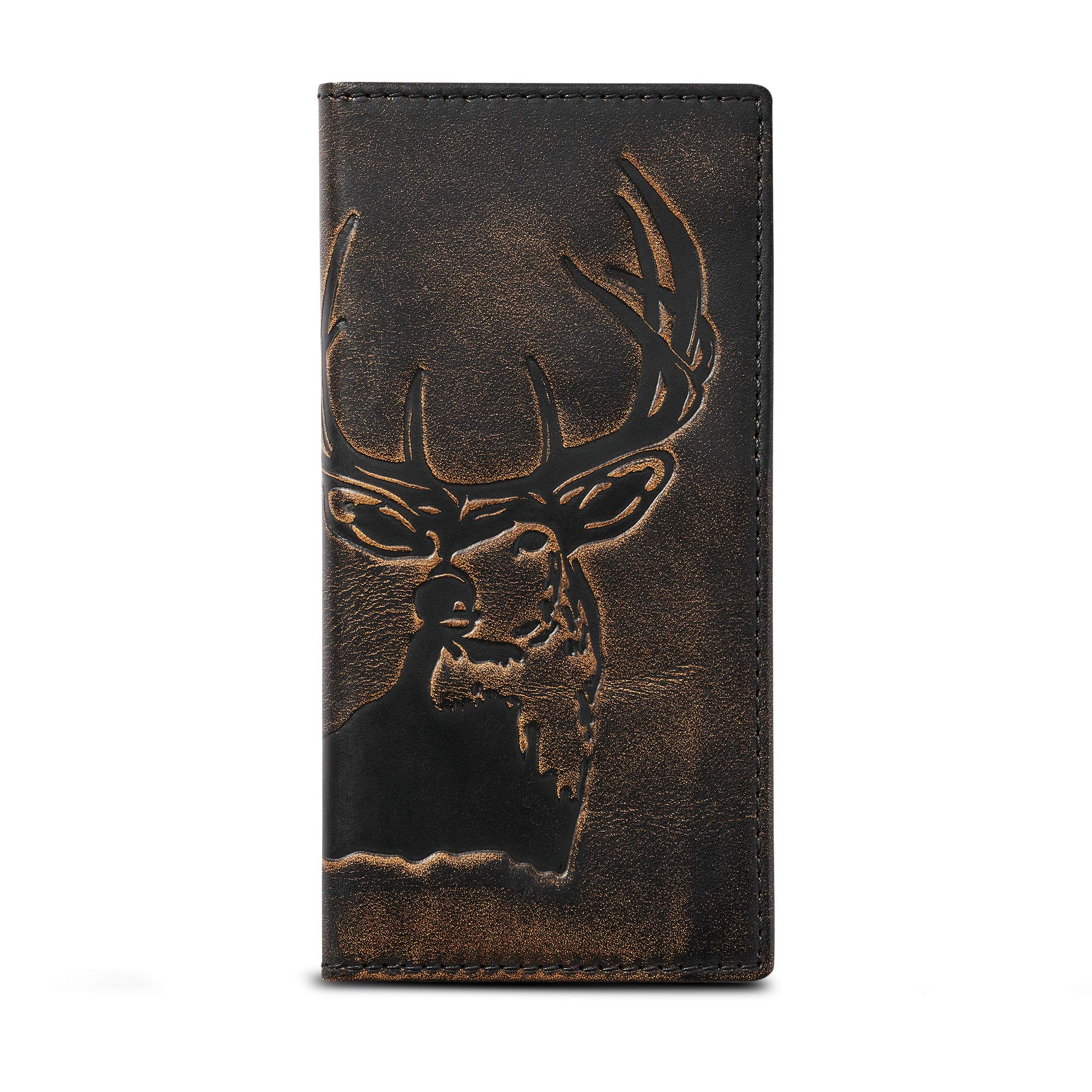 HOJ Co. DEER Long Bifold Wallet-Premium Grade Leather-Mens TALL Wallet-Deer Hunter Gift-Rodeo Wallet