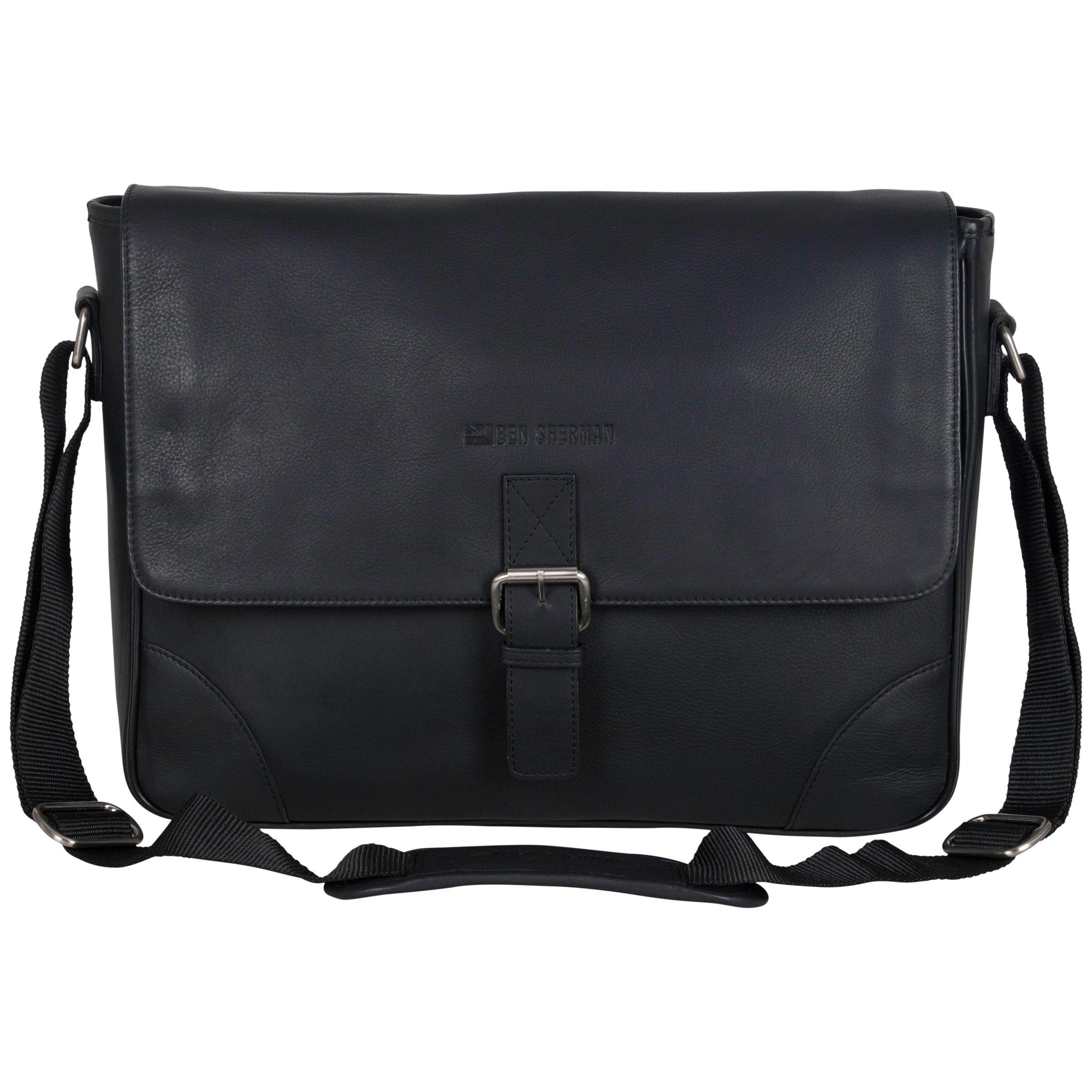 Ben Sherman Leather Single Compartment 15'' Laptop Messenger Bag (RFID), Black