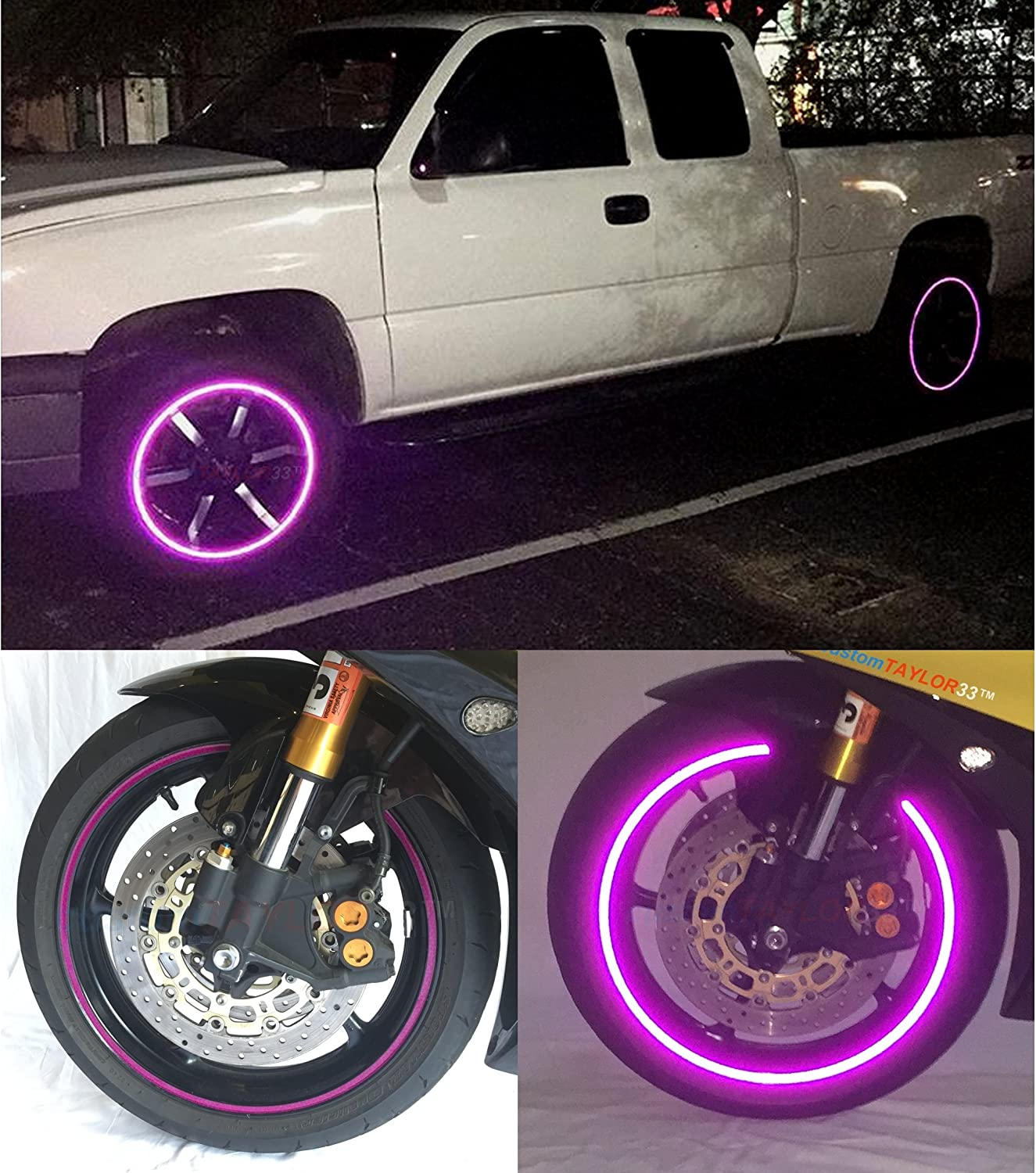 customTAYLOR33 New Special Edition Purple High Intensity Grade Reflective Copyrighted Safety Rim Tapes Rim Size 19