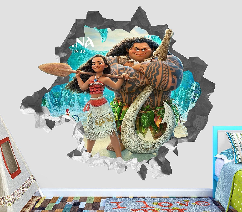 Disney Moana And Maui Movie 3D Window Wall View Sticker Poster Vinyl Boys 7a