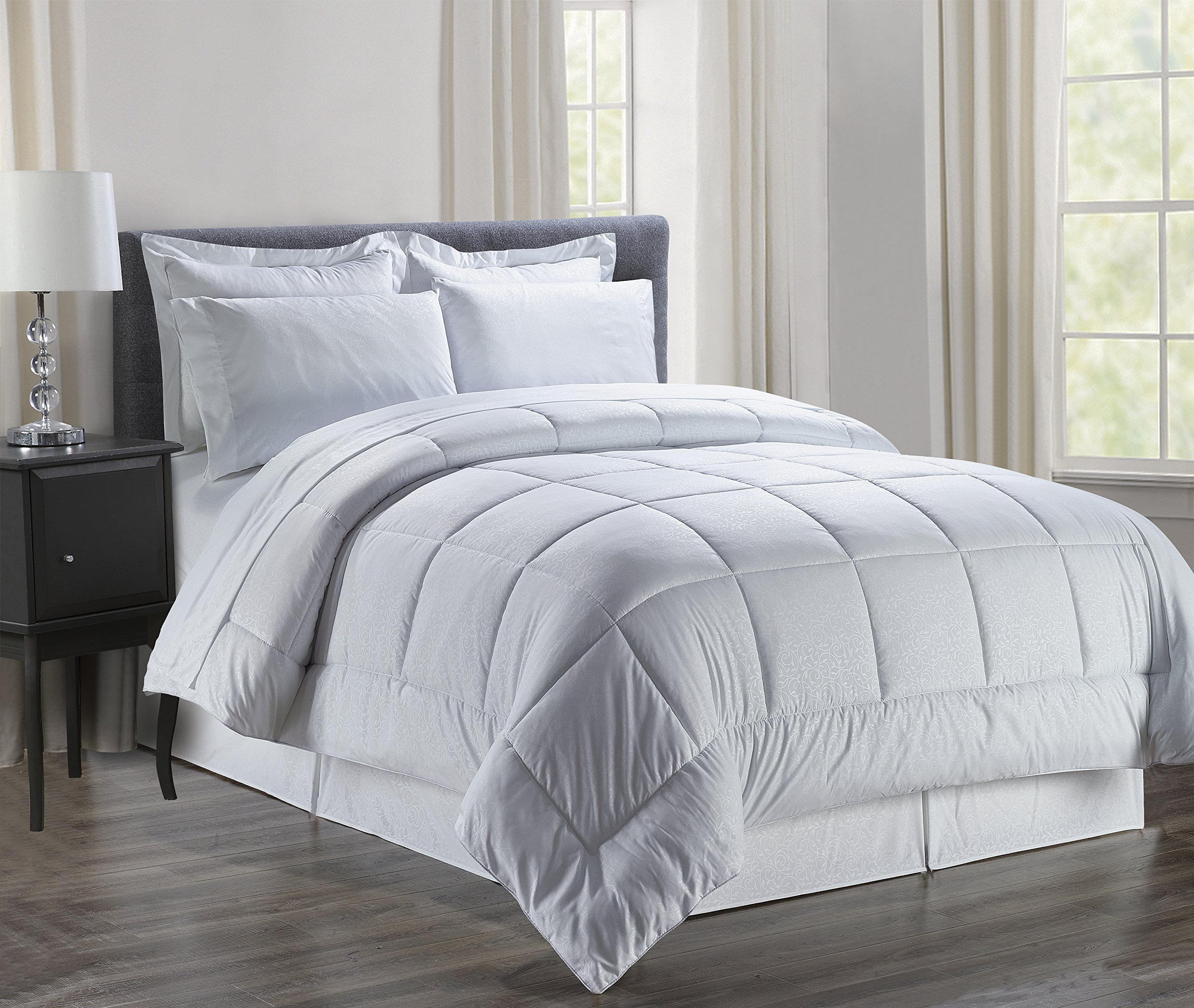 Luxury Bed-in-a-Bag Comforter Set on Amazon! Elegant Comfort Wrinkle Resistant - Silky Soft Beautiful Design Complete Bed-in-a-Bag 8-Piece Comforter Set -HypoAllergenic- Full/Queen, White